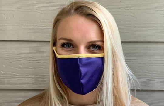 Purple/gold Microfiber Face Mask